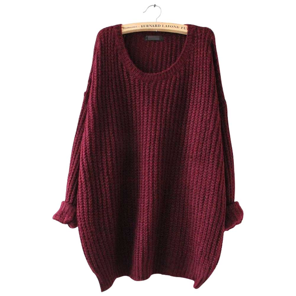 lady 39 s oversized knitted sweater long sleeve tops cardigan loose outwear coat ebay. Black Bedroom Furniture Sets. Home Design Ideas