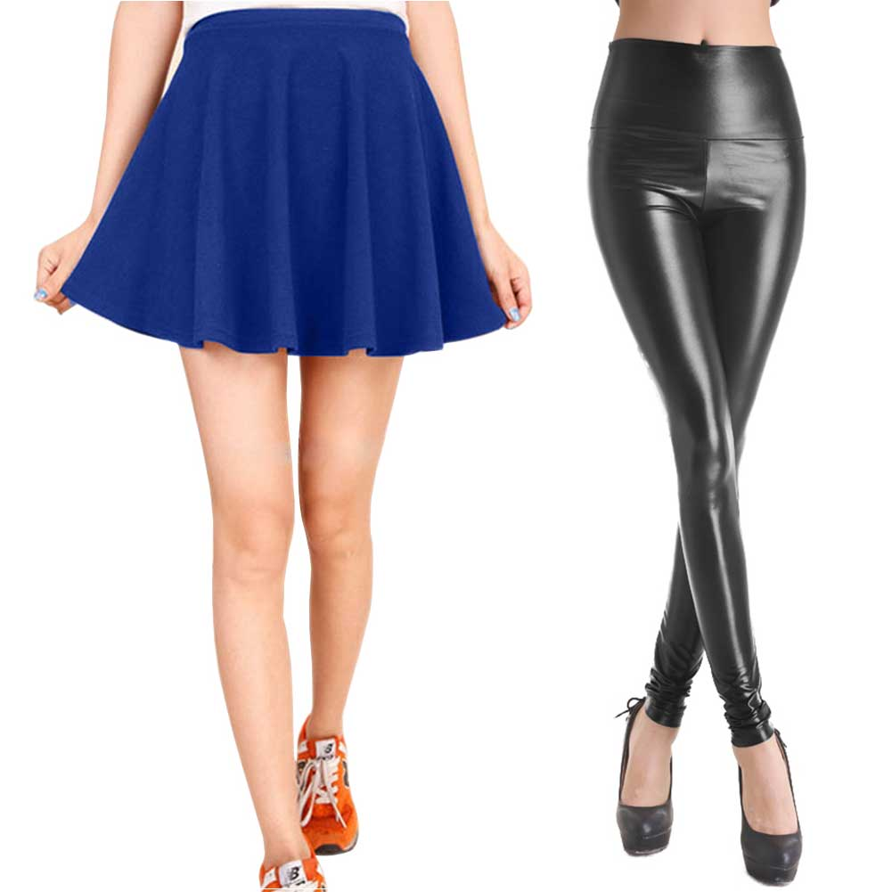 High Waist Sexy Tight Faux Leather Legging W/Pleated Mini Skirt For Womens Girls | eBay