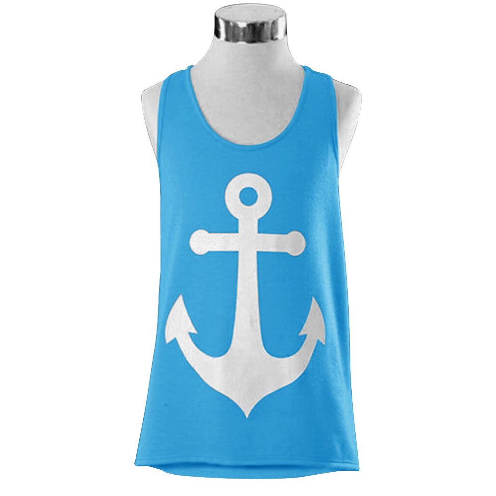2015 anchor vest tank tops graphic tee women back bow for Sleeveless graphic t shirts